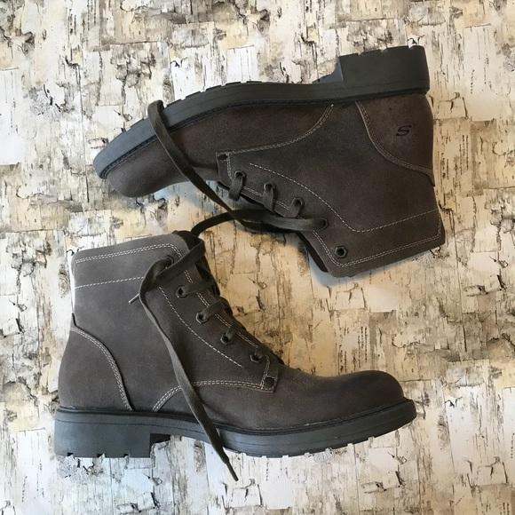 Nwot Mens Skechers Leather Upper Boots